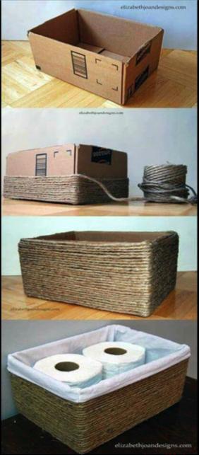 canasta diy para papel de baño