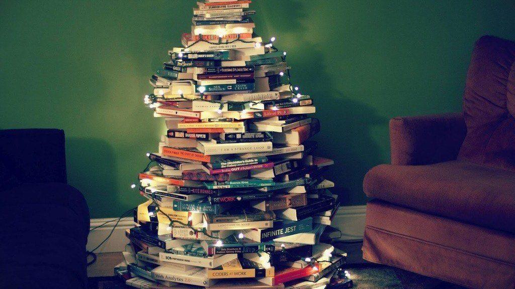 Arbol de Navidad de Libros