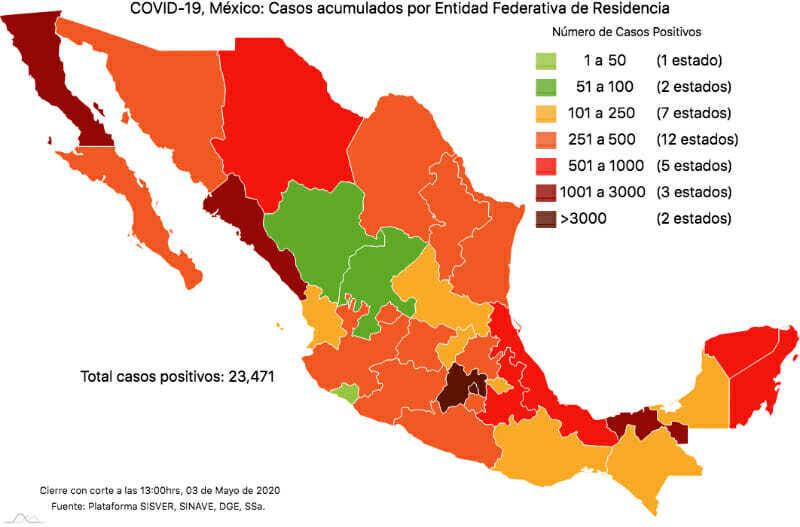 Mapa Coronavirus en México