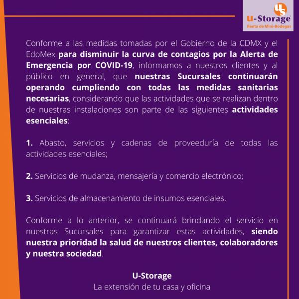 Comunicado COVID-19 U-Storage México